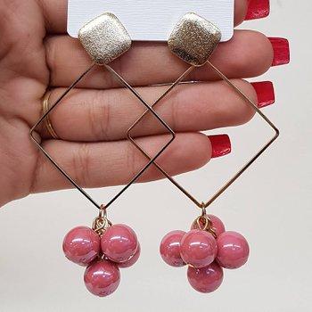 Brinco Maxi Pérolas Dourado Rosa