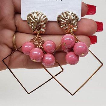 Brinco Grande Pérolas Dourado Rosa