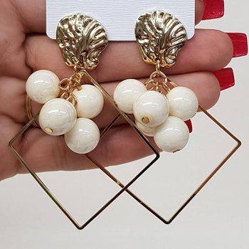Brinco Grande Pérolas Dourado Branco