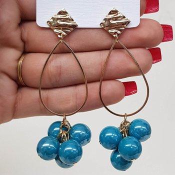Brinco Maxi Pérolas Dourado Azul