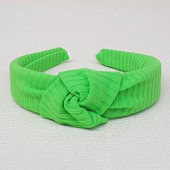 Tiara de Nó Tecido Canelado Verde Neon