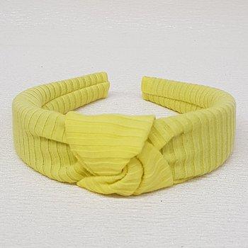 Tiara de Nó Tecido Canelado Amarelo Fraco