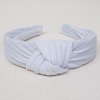 Tiara de Nó Tecido Canelado Branco