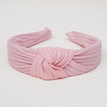 Tiara de Nó Tecido Canelado Rosa Claro