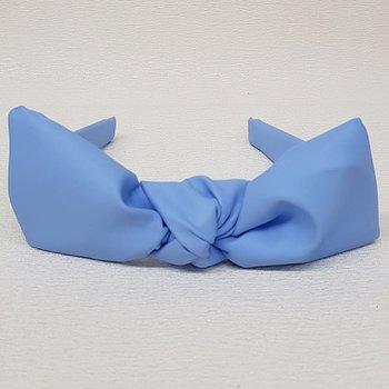 Tiara Laço Central Courinho Azul Anil