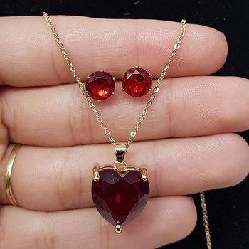 Conjunto Zircônia Coração Dourado Vermelho