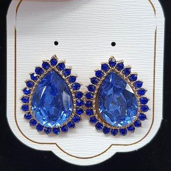 Brinco Ponteira Gota Dourado Azul