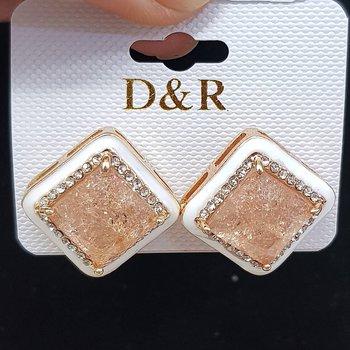 Brinco Ponteira Pedra Fusion Dourado Branco e Rosê...