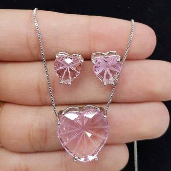 Conjunto Zircônia Coração Prata Rosa