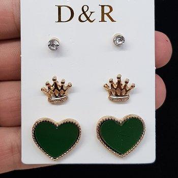 Kit De Brincos Coração Dourado Verde