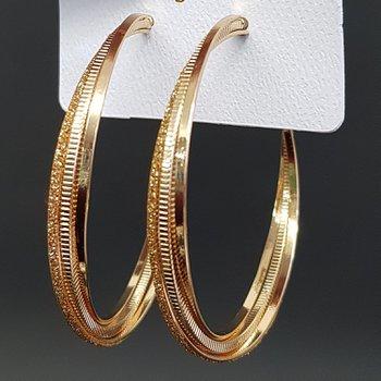 Argola Glitter Dourado Champanhe