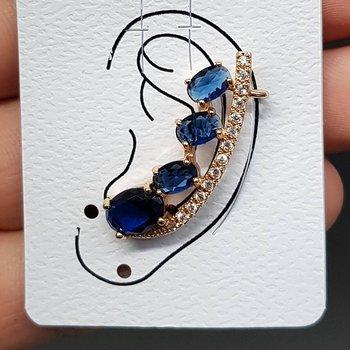 Brinco Ear Cuff Zircônia Dourado Azul Marinho