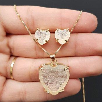 Conjunto Coração Dourado Branco
