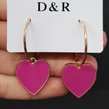 Argola Coração Esmaltado Dourado Rosa