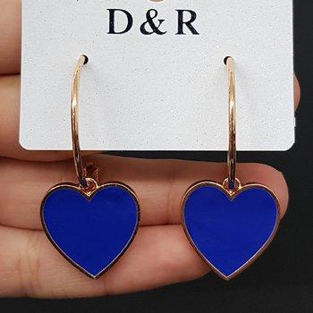 Argola Coração Esmaltado Dourado Azul