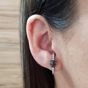 Brinco Semi Joia Ear Hook Pequeno Coração Ródio Ne...