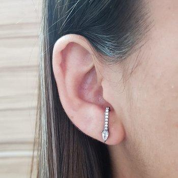 Brinco Semi Joia Ear Hook Pequeno Gota Ródio Negro...