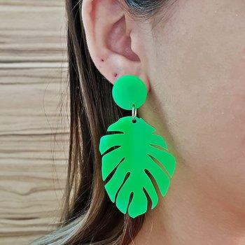 Brinco Acrílico Folha Grande Verde Neon