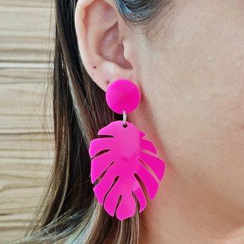 Brinco Acrílico Folha Grande Pink Neon