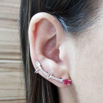 Brinco Ear Cuff Médio Gotas Prata Branco e Vermelh...