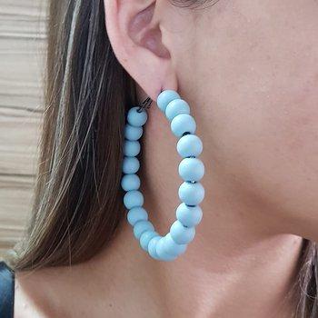 Argola Madeira Azul