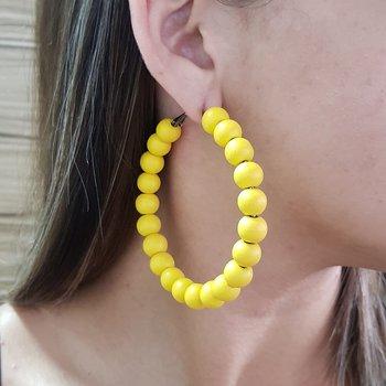 Argola Madeira Amarelo