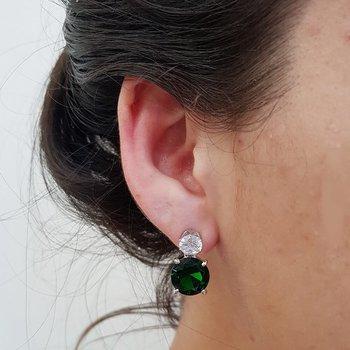 Brinco Pequeno Prata Verde