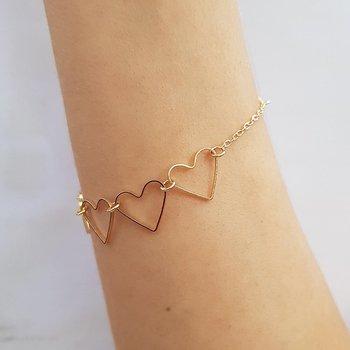Pulseira Folheada Coração Dourada