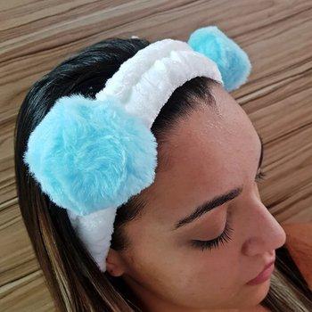 Faixa de Cabelo Para Aplicar Maquiagem Panda Azul