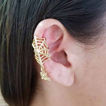Brinco Ear Cuff Teia Dourado