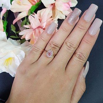 Anel Zircônia Gota Pedra Fusion Dourado Rosa
