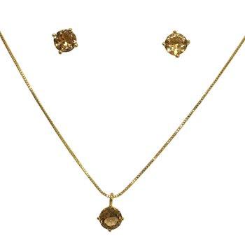 Conjunto Zircônia Carolaine Dourado Chamapnhe *
