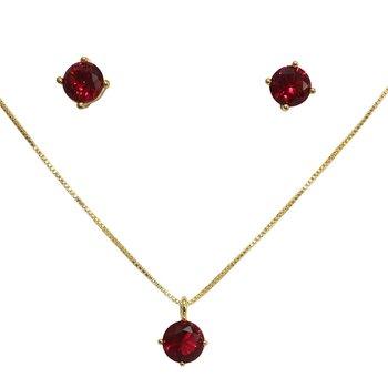 Conjunto Zircônia Carolaine Dourado Pink *