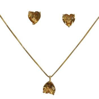 Conjunto Zircônia Cinderela Coração Dourado Champa...