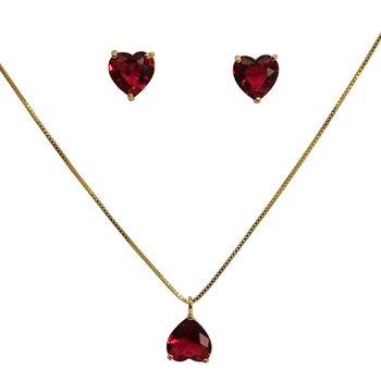 Conjunto Zircônia Cinderela Coração Dourado Pink *...