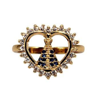Anel Zircônia Nossa Senhora Aparecida Dourado *