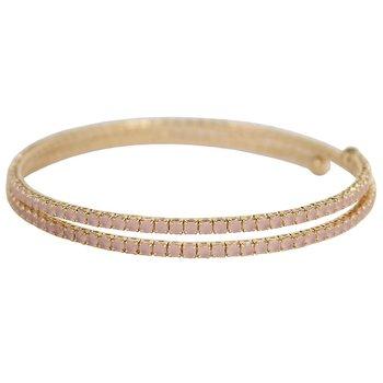 Pulseira Bracelete Zircônia Rubila Dourado Rosa Cl...