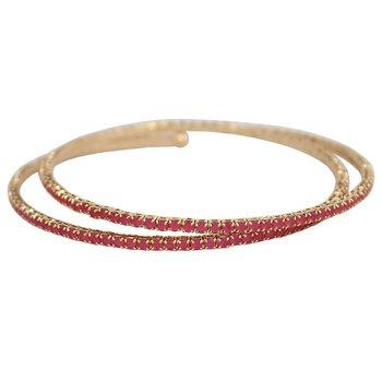 Pulseira Bracelete Zircônia Rubila Dourado Pink