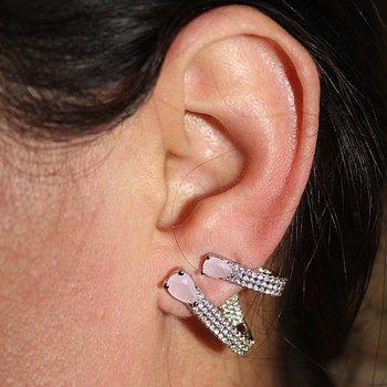 Piercing Falso Zircônia Duplo Zara Prata Rosa *