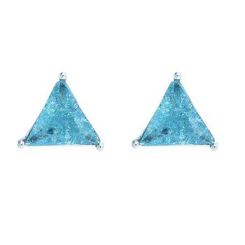 Brinco Pequeno Zoe Pedra Fusion Prata Azul