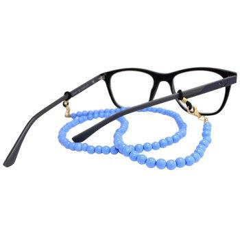 Cordão para Óculos Bolinhas Acrílico Azul
