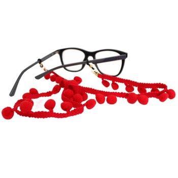 Cordão para Óculos Bolinhas Pompom Vermelho