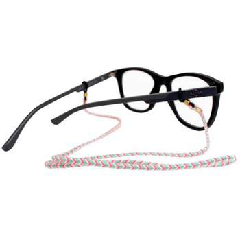 Cordão para Óculos Trancinha Bem Fina Verde Rosa