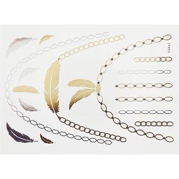 Tatuagem Metálica Flash Tattoo Feathers