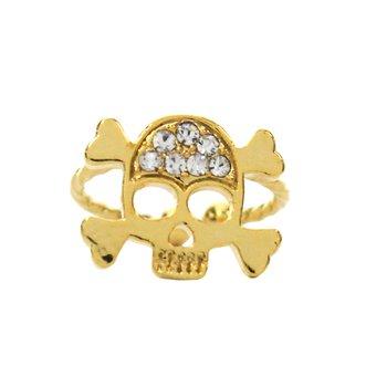 Anel Falange Caveira Pirate Dourado *