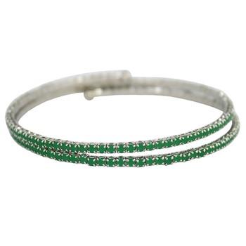 Pulseira Bracelete Zircônia Rubila Prata Verde