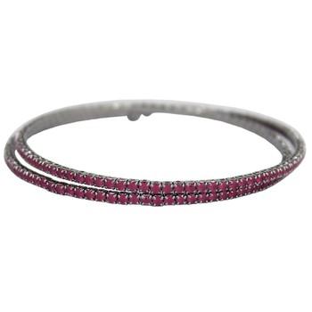Pulseira Bracelete Zircônia Rubila Grafite Pink