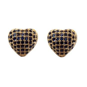 Brinco Zircônia Coração Dourado Azul Marinho