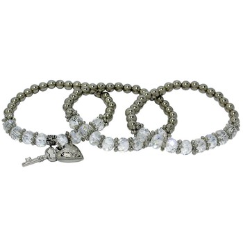 Pulseira Kit Key Heart Prata Branco