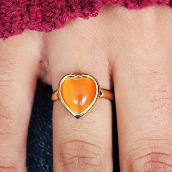 Anel Coração Dourado Laranja